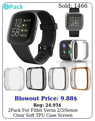 pack fitbit versa sense clear soft tpu case screen protector full cove