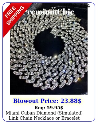 miami cuban diamond simulated link chain necklace or bracelet iced men jewelr