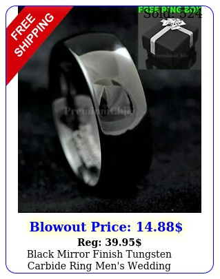black mirror finish tungsten carbide ring men's wedding engagement band rin