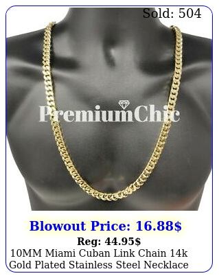 mm miami cuban link chain k gold plated stainless steel necklace men jewelr