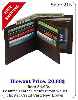 genuine leather men's bifold wallet hipster credit card brown larg