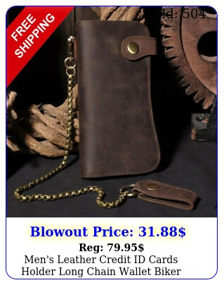 men's leather credit id cards holder long chain wallet biker trucker heavy thic