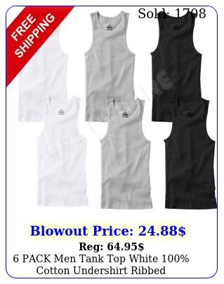 pack men tank top white cotton undershirt ribbed sizesmediumlargex