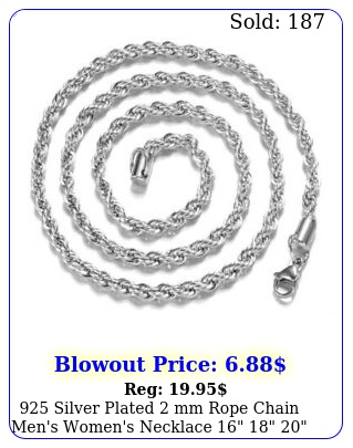 silver plated mm rope chain men's women's necklace