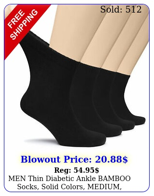 men thin diabetic ankle bamboo socks solid colors medium casual pai