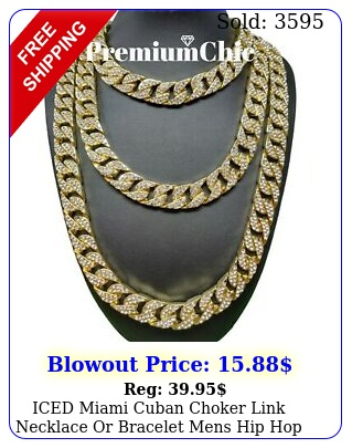 iced miami cuban choker link necklace or bracelet mens hip hop chain gold plate