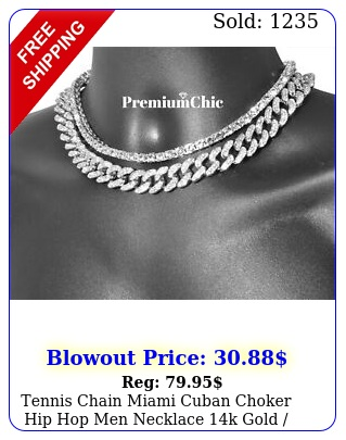 tennis chain  miami cuban choker hip hop men necklace k gold silver plate