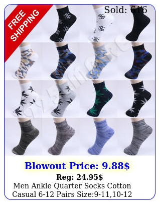 men ankle quarter socks cotton casual pairs siz