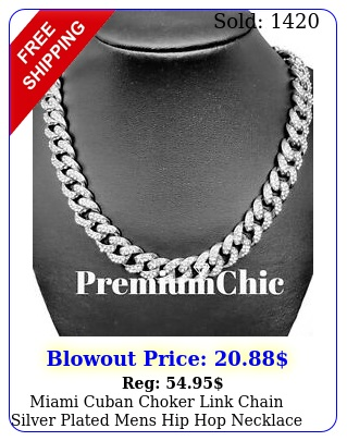miami cuban choker link chain silver plated mens hip hop necklace jewelry ice
