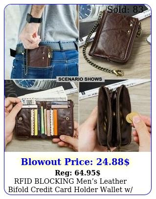 rfid blocking mens leather bifold credit card holder wallet w chain billfol