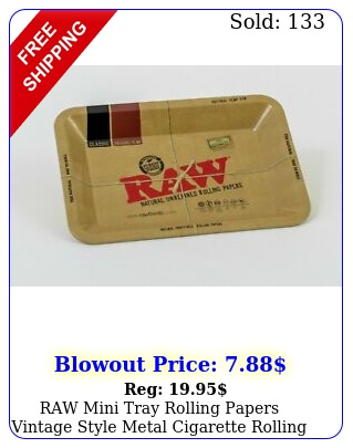 raw mini tray rolling papers vintage style metal cigarette rolling tray