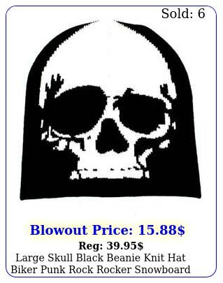 large skull black beanie knit hat biker punk rock rocker snowboard headgea