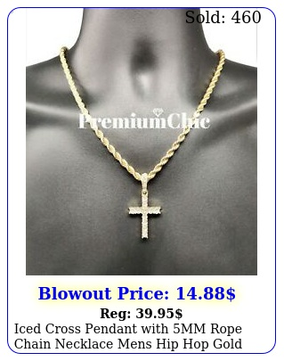iced cross pendant with mm rope chain necklace mens hip hop gold plated jewelr
