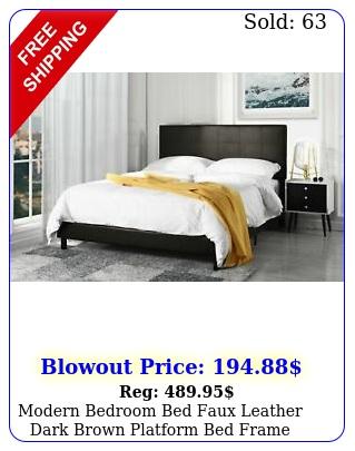 modern bedroom bed faux leather dark brown platform bed frame twi