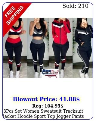 pcs set women sweatsuit tracksuit jacket hoodie sport top jogger pants gym sui