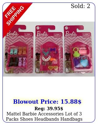 mattel barbie accessories lot of packs shoes headbands handbags with pink rac