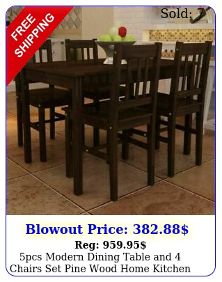 pcs modern dining table chairs set pine wood home kitchen furniture brow