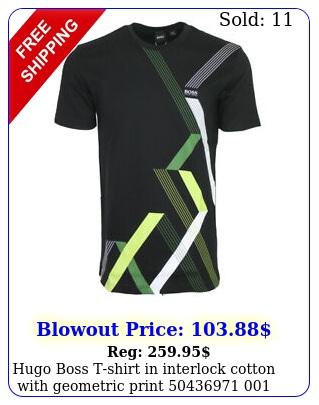 hugo boss tshirt in interlock cotton with geometric print
