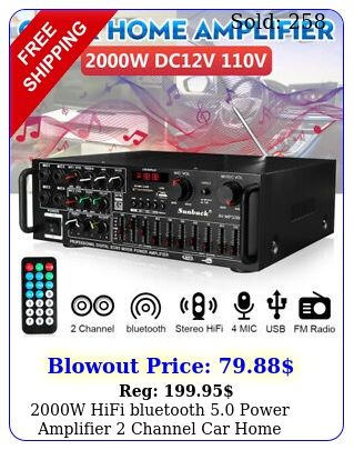 w hifi bluetooth power amplifier channel car home stereo audio fm am