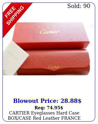 cartier eyeglasses hard case boxcase red leather france magnetic closur