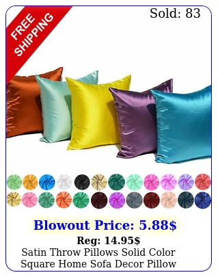 satin throw pillows solid color square home sofa decor pillow cushion cover cas