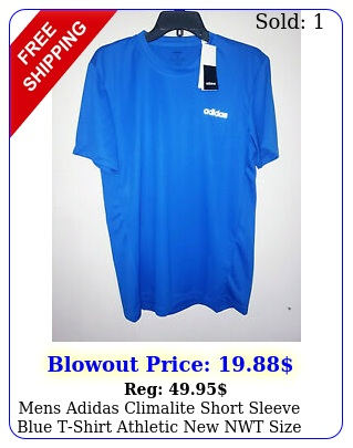 mens adidas climalite short sleeve blue tshirt athletic nwt size medium