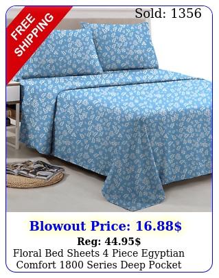 floral bed sheets piece egyptian comfort series deep pocket bed sheet se