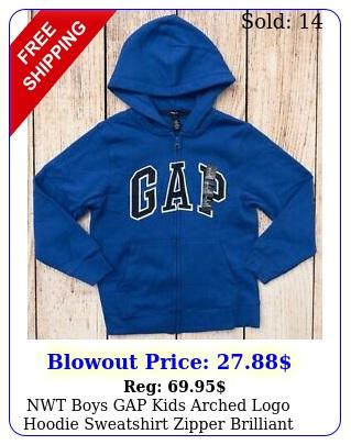 nwt boys gap kids arched logo hoodie sweatshirt zipper brilliant blue