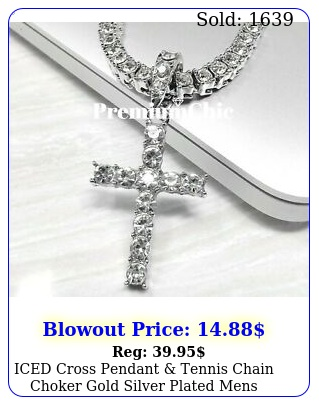 iced cross pendant tennis chain choker gold silver plated mens hiphop necklac