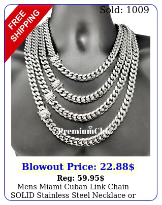 mens miami cuban link chain solid stainless steel necklace or bracelet jewelr