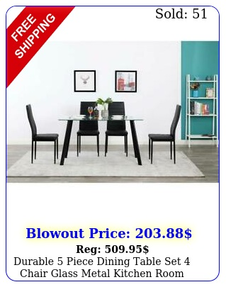 durable piece dining table set chair glass metal kitchen room breakfas