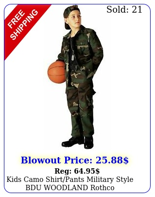 kids camo shirtpants military style bdu woodland rothc