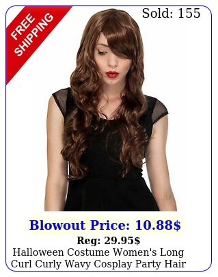 halloween costume women's long curl curly wavy cosplay party hair wigs full wig