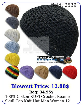 cotton kufi crochet beanie skull cap knit hat men women color