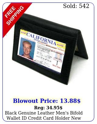 black genuine leather men's bifold wallet id credit card holde