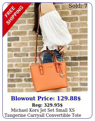 michael kors jet set small xs tangerine carryall convertible tote handbag purs
