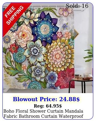 boho floral shower curtain mandala fabric bathroom curtain waterproof