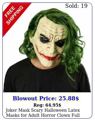 joker mask scary halloween latex masks adult horror clown full head us