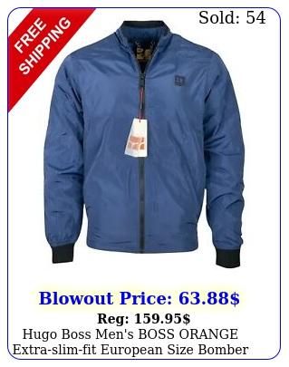 hugo boss men's boss orange extraslimfit european size bomber jacket blu