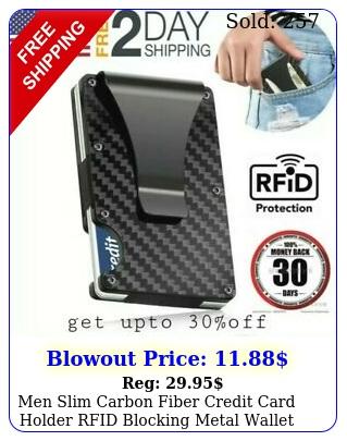 men slim carbon fiber credit card holder rfid blocking metal wallet money cli