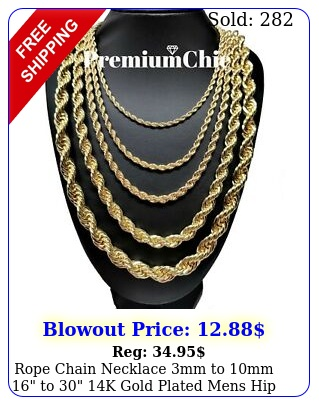 rope chain necklace mm to mm to k gold plated mens hip hop jewelr