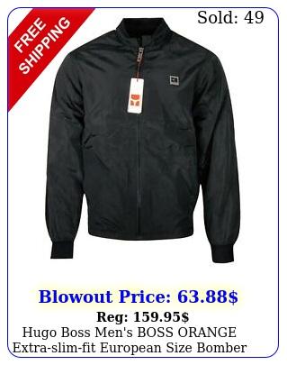 hugo boss men's boss orange extraslimfit european size bomber jacket blac