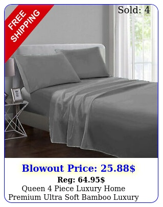 queen piece luxury home premium ultra soft bamboo luxury bed sheet se