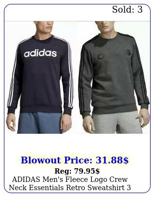 adidas men's fleece logo crew neck essentials retro sweatshirt stripe variet