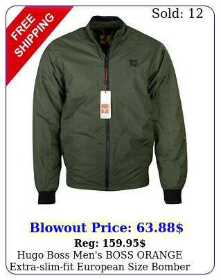 hugo boss men's boss orange extraslimfit european size bomber jacket gree