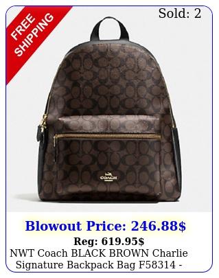 nwt coach black brown charlie signature backpack bag f ne