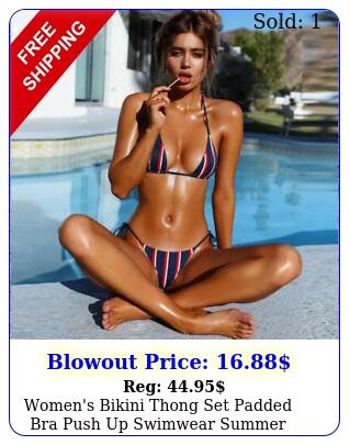 women's bikini thong set padded bra push up swimwear summer beach bathing sui