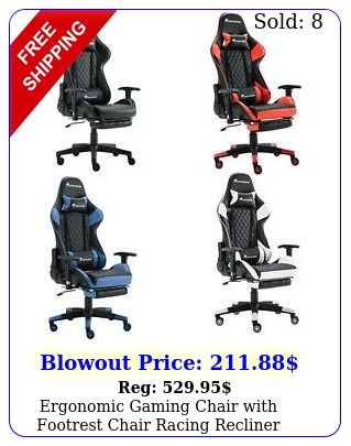 ergonomic gaming chair with footrest chair racing recliner computer swivel chai