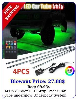 pcs color led strip under car tube underglow underbody system neon lights ki