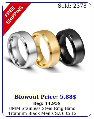 mm stainless steel ring band titanium black men's sz to wedding rings ma
